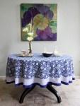 Midnight Lotus Round Tablecloth