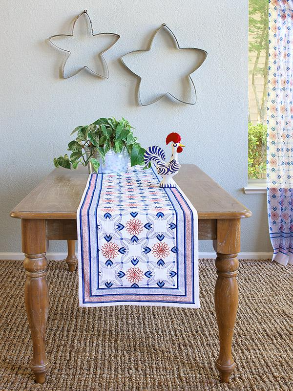 le chateau tile french country farmhouse rustic table runner