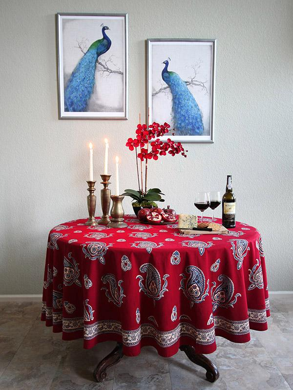 red paisley bedding window treatment and table linen kashmir