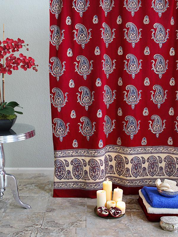 Red Shower Curtain Paisley Print Red Shower Curtain Vintage Shower Curtain Saffron Marigold