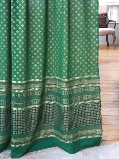 the empresses emeralds green and gold india curtain panel