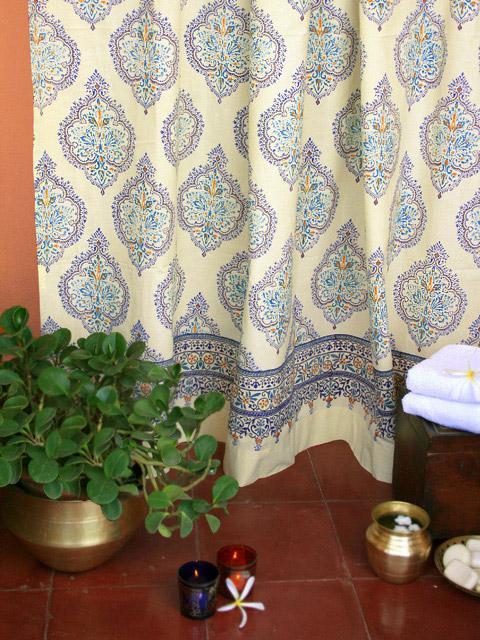 morning dew blue yellow french fair trade bath shower curtain