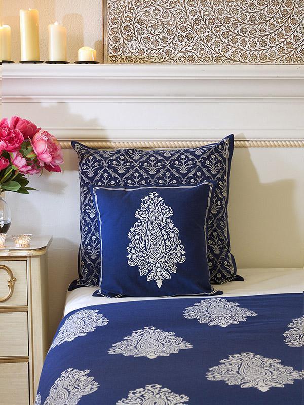 Indigo Blue Cushion Cover White Paisley Throw Cushion Cover Decorative Throw Cushion Cover