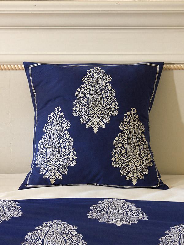 Indigo Navy Blue Euro Sham White Paisley Euro Sham Cover Size 26x26 European Sham Saffron