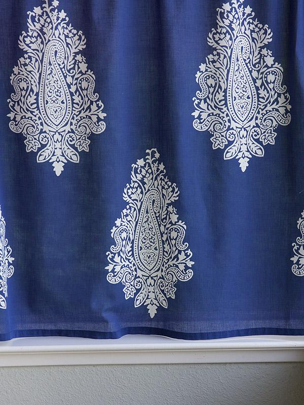 Navy Blue Kitchen Cafe Curtain White Paisley Saffron Marigold