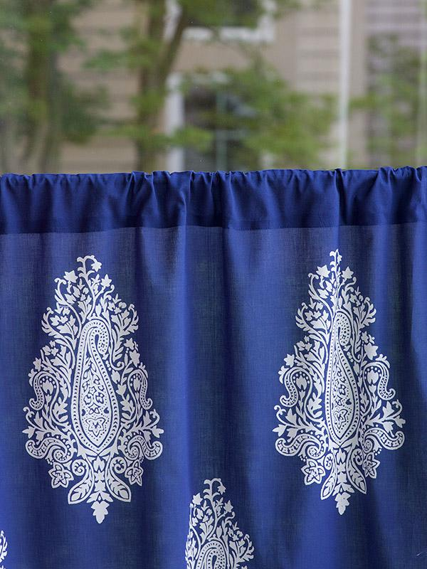 Navy Blue Kitchen Cafe Curtain White Paisley Saffron Marigold