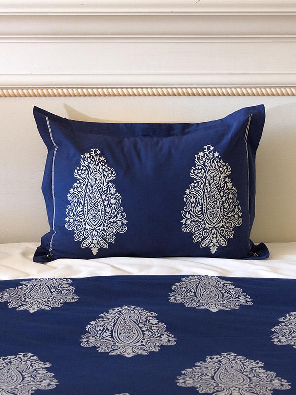 Navy Blue Pillow Sham White Paisley Pillow Sham Cover Co Ordinating Pillow Sham Saffron Marigold