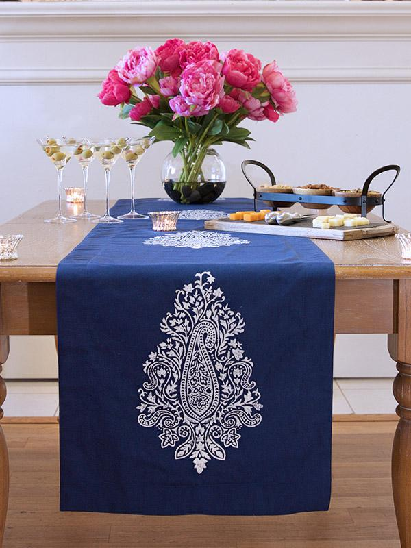 Navy Blue Table Runner White Paisley Table Runner 90 108 120 Inch Long 18 Inch Wide Saffron