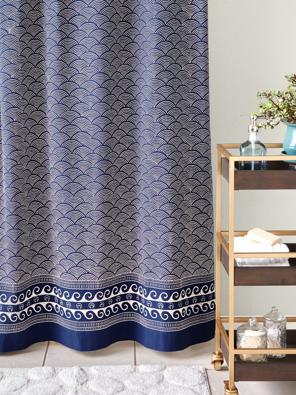 pacific blue rustic navy ocean asian inspired shower curtain