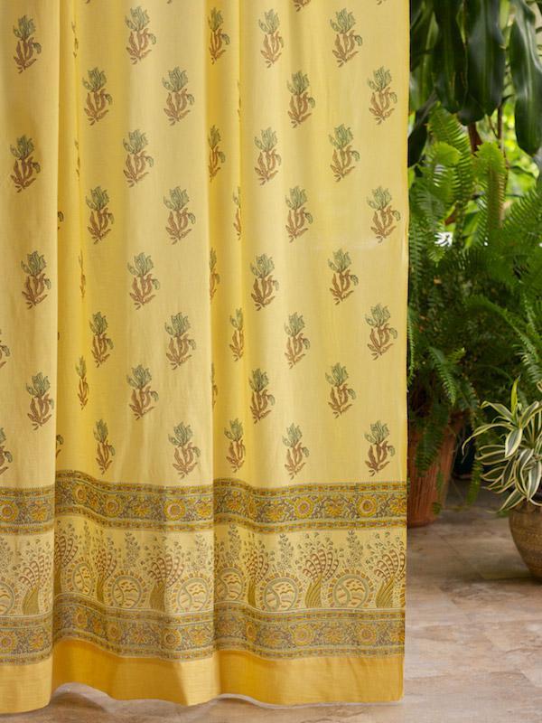Yellow Curtain Floral Curtain Summer Curtain Beach Curtain Cotton Curtain Panel Saffron