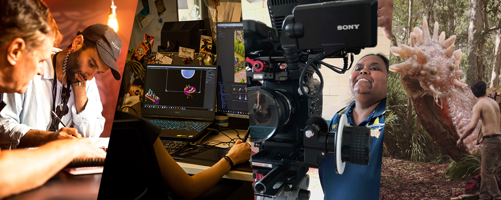 Image (L-R): 1st AD Rick Beecroft and 2nd AD Wayne Nassereddine working on 2067, photo by Matt Byrne; an artist at work at Mighty Kingdom, photo by James Elsby; photo by Carl Kuddell © Change Media 2019; a still from Love and Monsters showing PDV work by Mr X, image supplied.