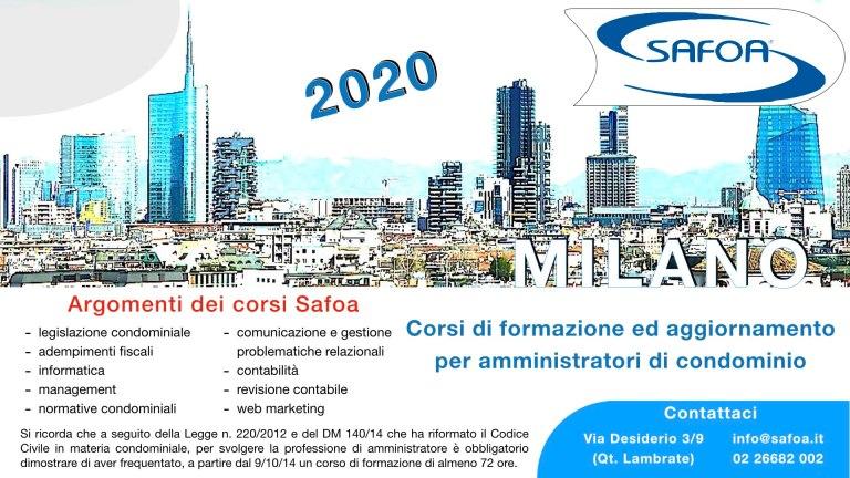 Corsi di formazione 2020 Safoa per amministratori di condominio