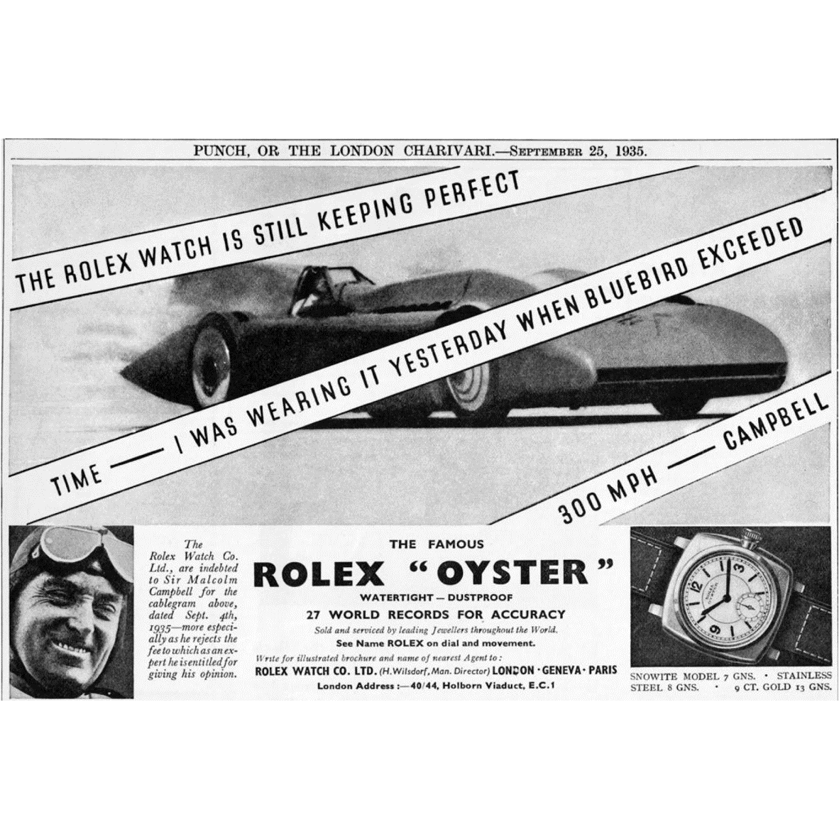 Racing Watches: Rolex Oyster & Sir Malcolm Campbell