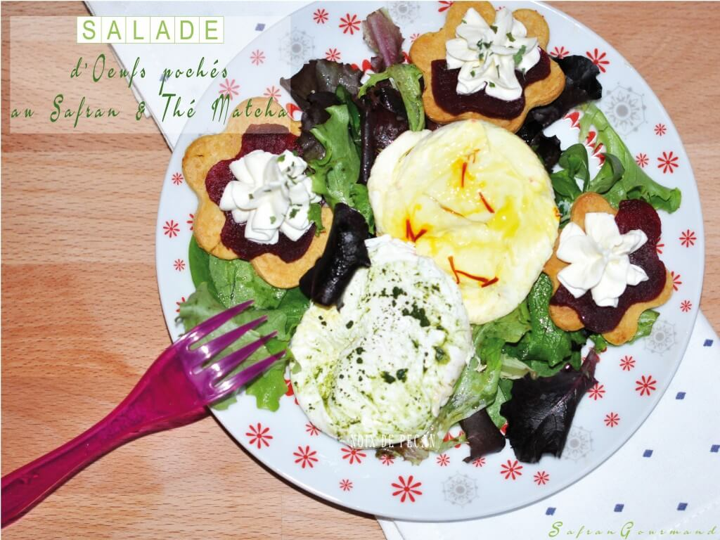 Salade d'œufs pochés au Safran & Thé Matcha