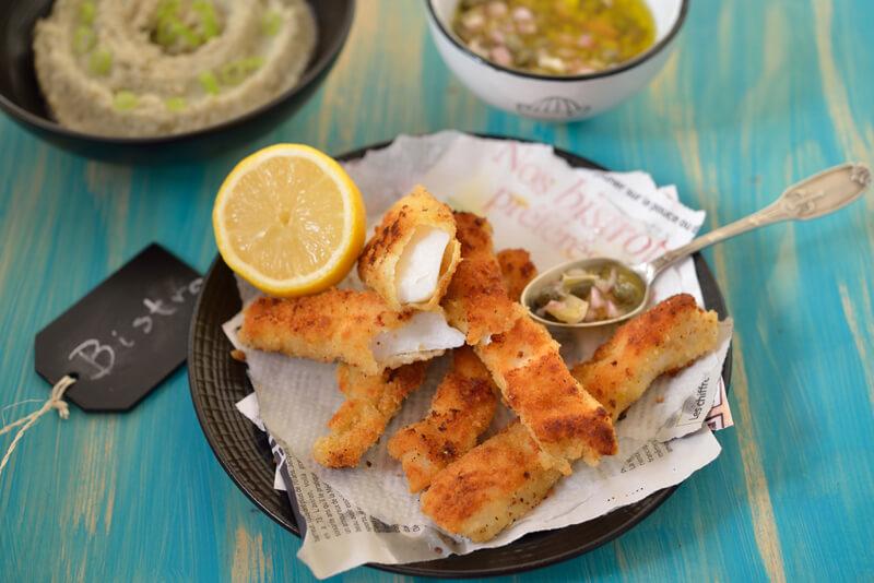Cabillaud pané au citron, sauce aux câpres et purée d'artichauts