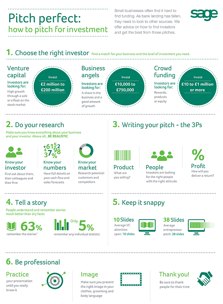 Sage pitching for investment infographic
