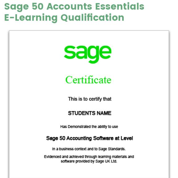 Sage 50 Accounts Essentials Certificate example