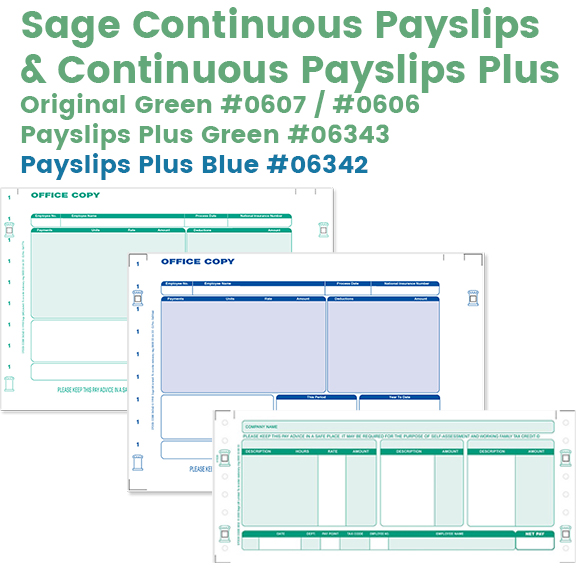 Sage continuous payslips in green and blue