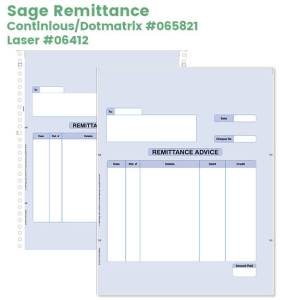 Sage remittance advice for laser or dotmatrix printers