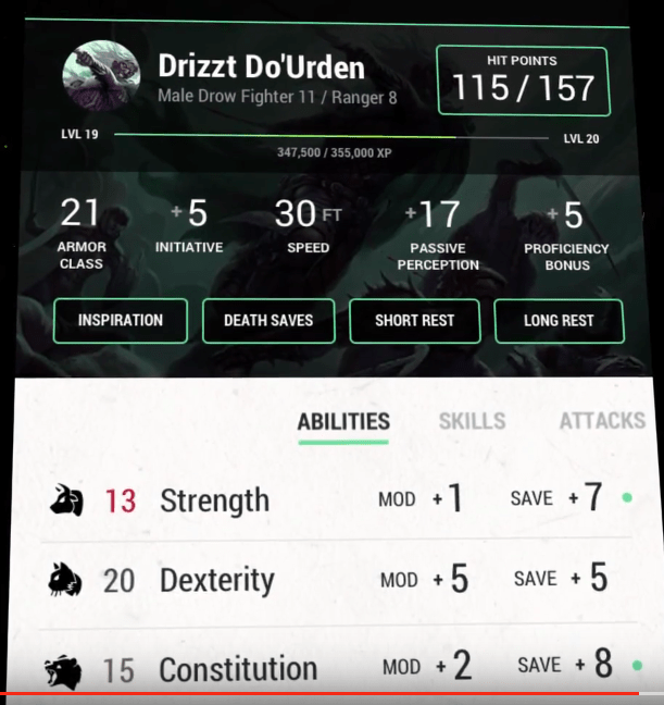Drizzt Do'Urden stats: Multiclass Fighter 11 / Ranger 8 | Sage