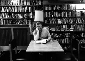 Matthew Moffitt in his writing space