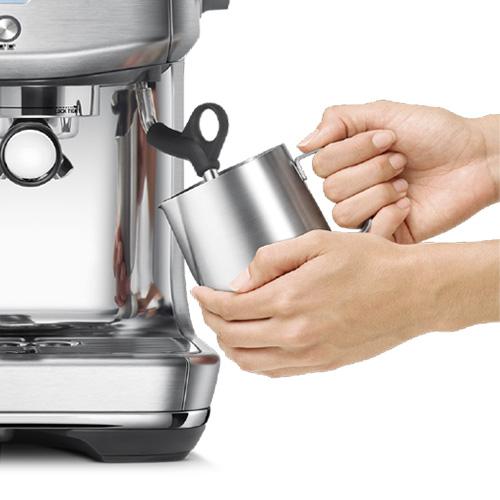 the Barista Pro Espresso Machine in Brushed Stainless Steel microfoam milk texturing
