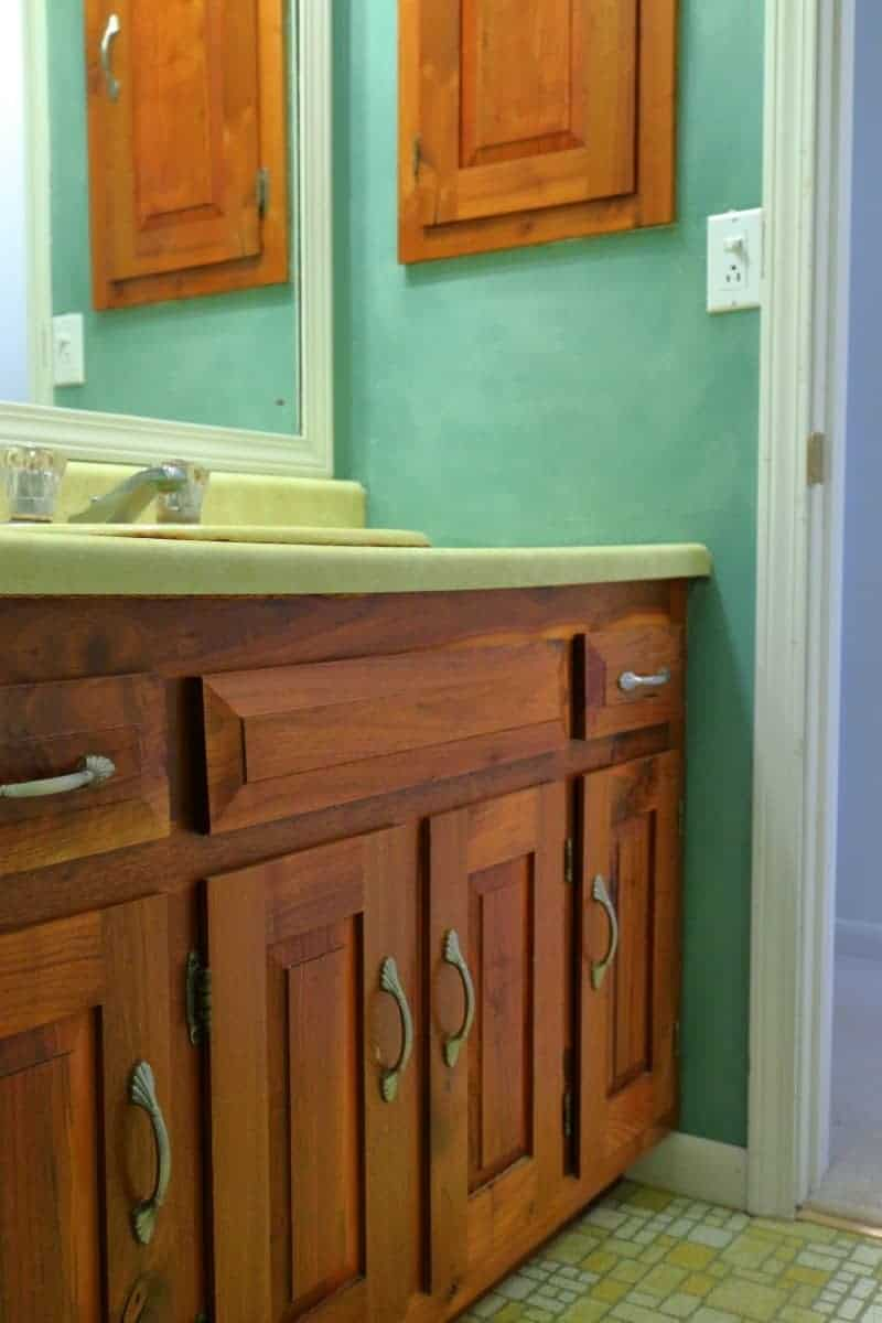 Bathroom remodel before picture - hickory vanity