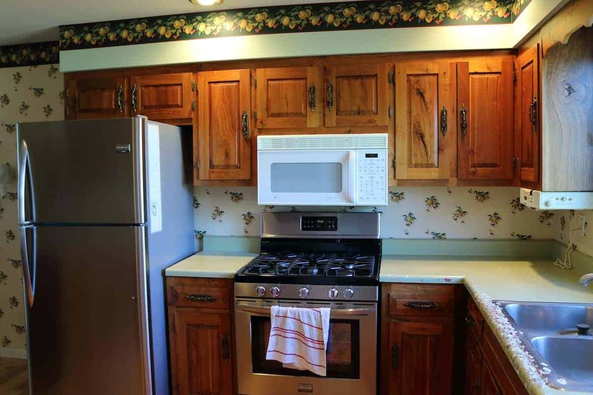 Stainless steel refrigerator & oven, green counters before kitchen remodel