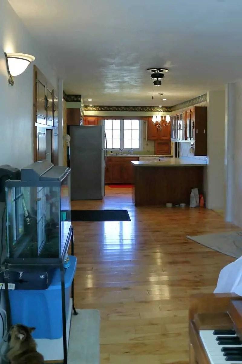 Looking towards kitchen - wood floor, green counters, large window