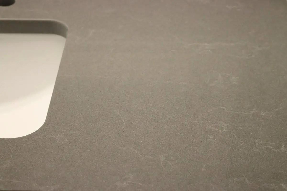 Dark grey quartz bathroom countertop