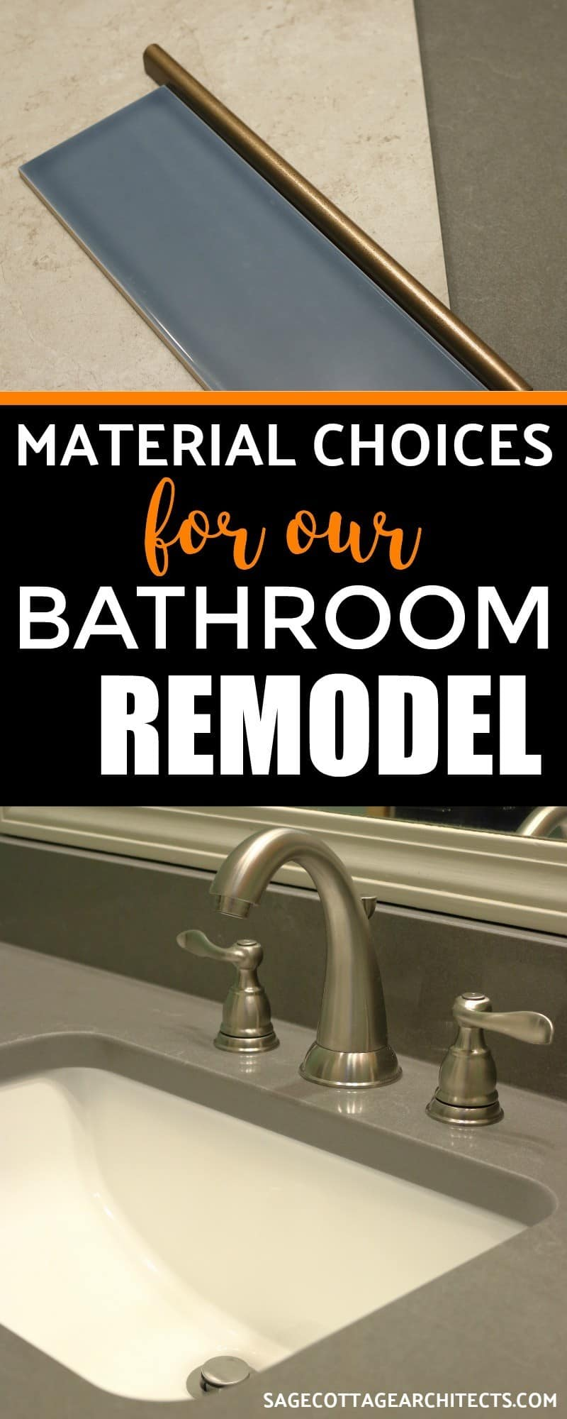 Collage of bathroom material choices - dark grey sink and blue subway tile