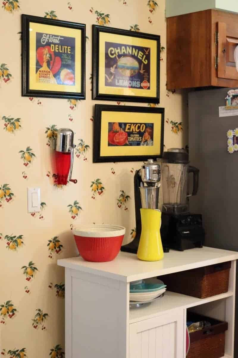 Kitchen remodel with vintage advertising and accessories