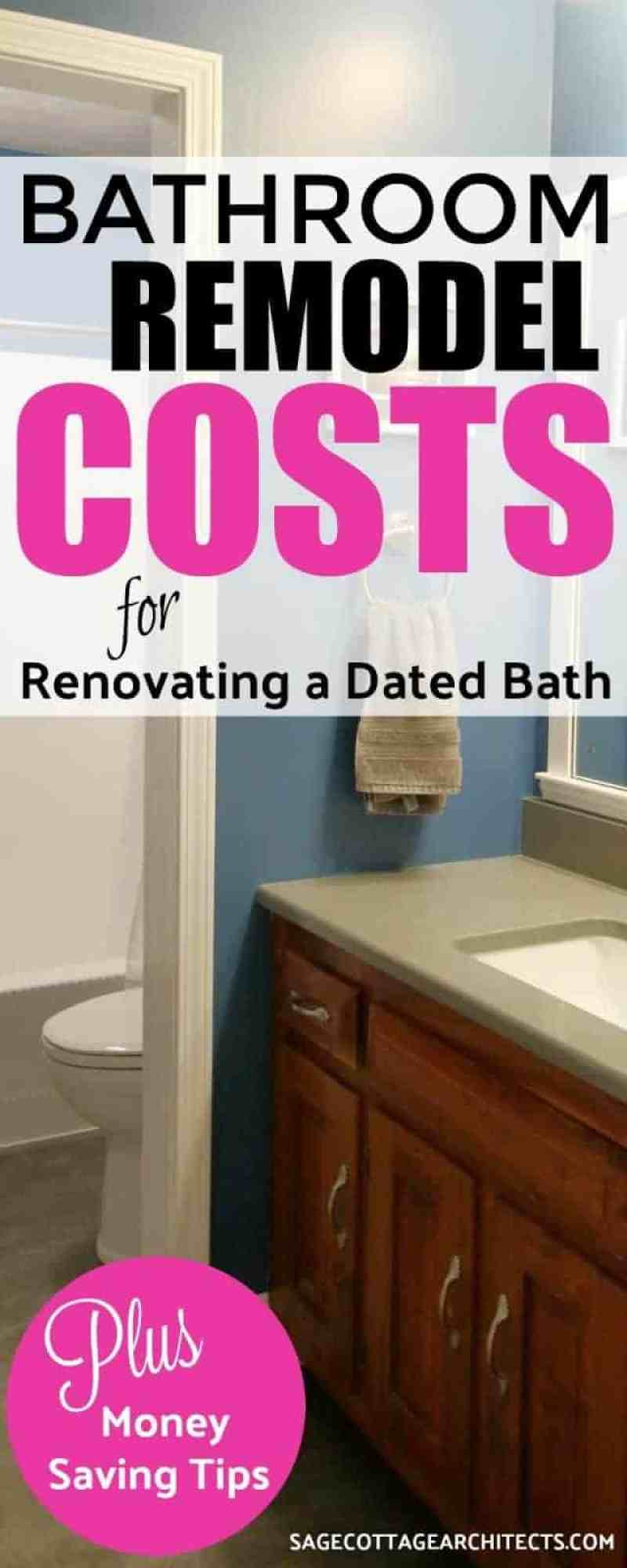 Bathroom remodel costs for a dark grey and blue bathroom with hickory vanity after remodeling