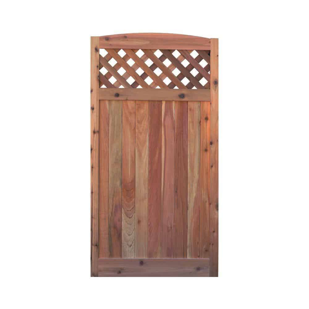 Wooden gate with lattice panel and arched top
