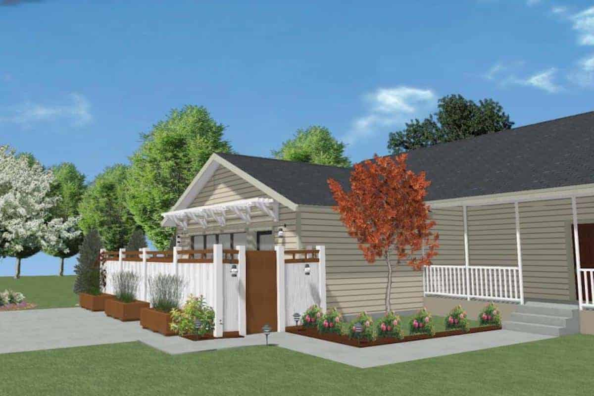 A rendered drawing of a garage conversion with white privacy fence.
