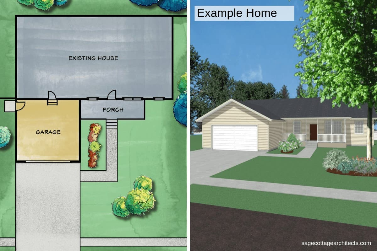 A rendered collage of a ranch style home's site plan and street view perspective.