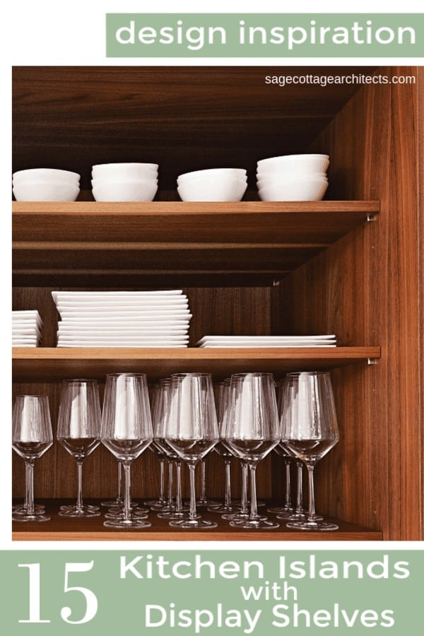 Collage of wooden cabinet shelves with white tableware and wine glasses that would be perfect for kitchen islands.