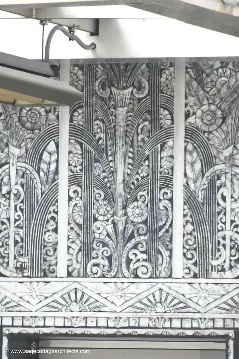 Art Deco Architecture - decorative nickel panel in a fountain design