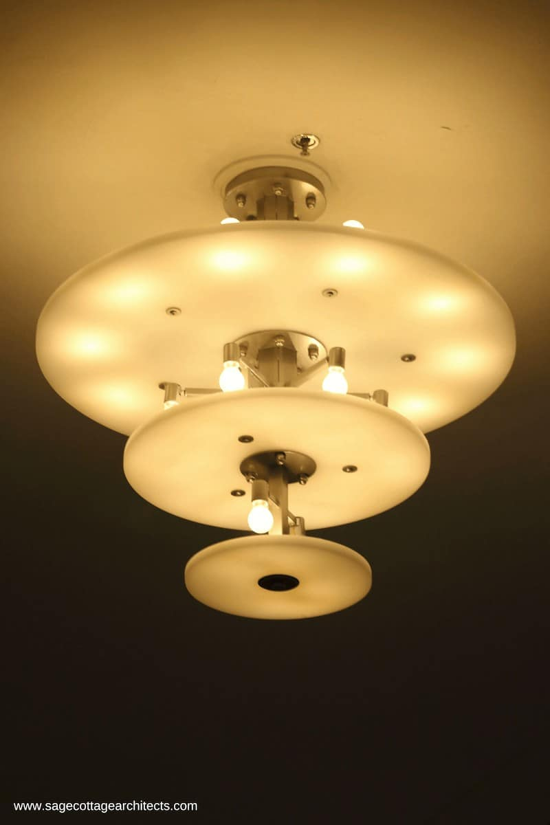 Art Deco style light - three opaque platters with nickel spacers