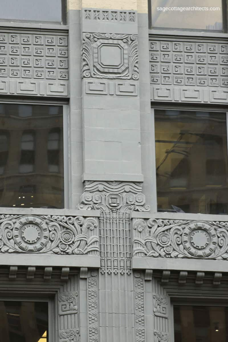 Grey Art Deco ornamentation on Engineer's Building in Chicago.