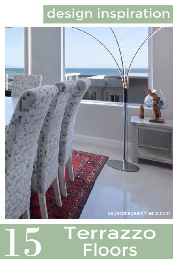 Collage of dining room with large window and white terrazzo floors.