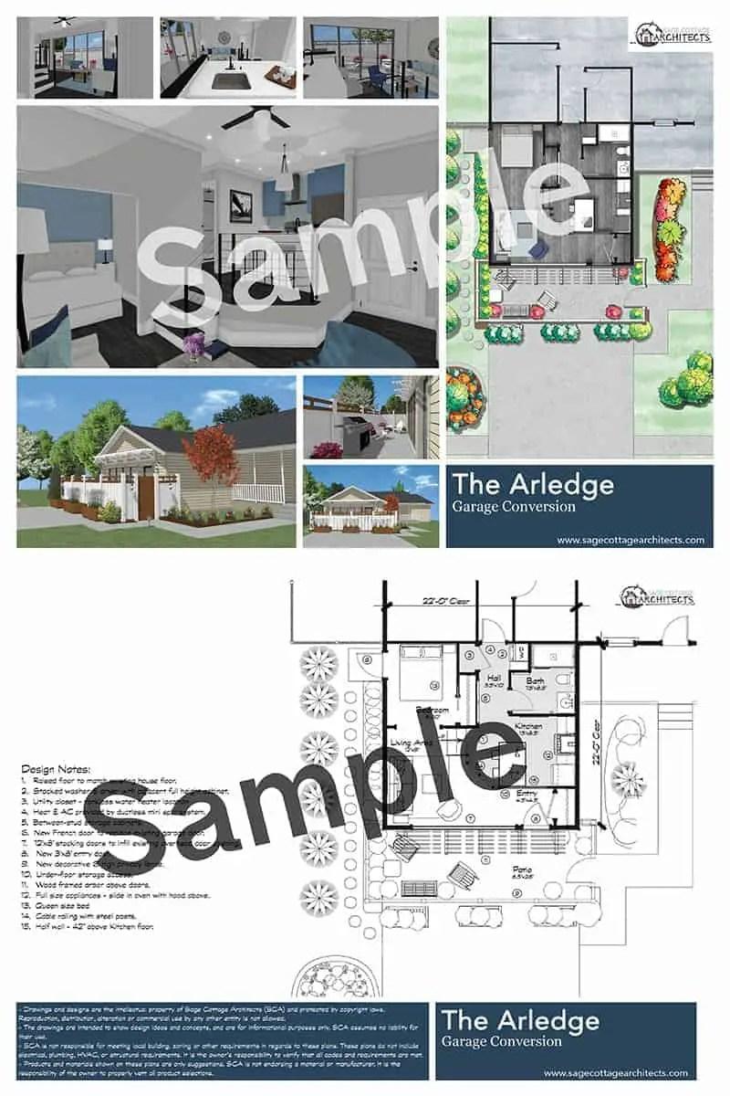 Collage of free garage conversion plan