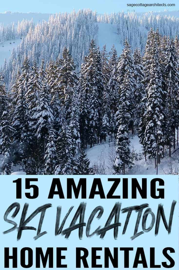 Photo collage of a ski vacation destination with snow covered trees and mountain