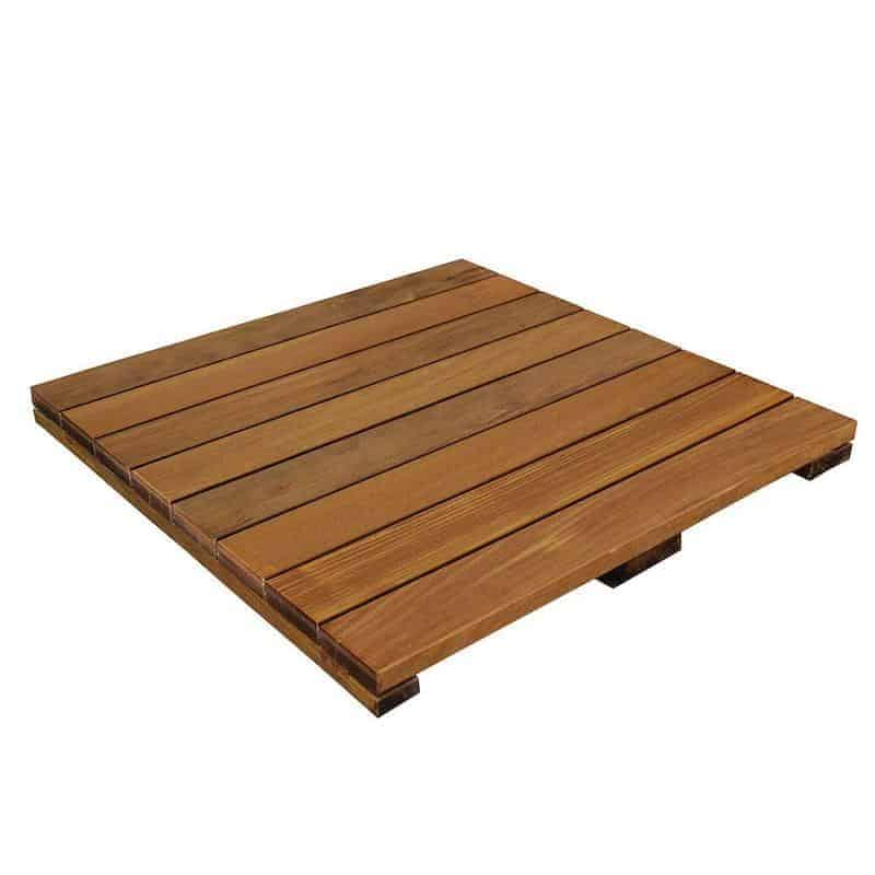 Photo of solid wood deck tile that can be used for balcony flooring.