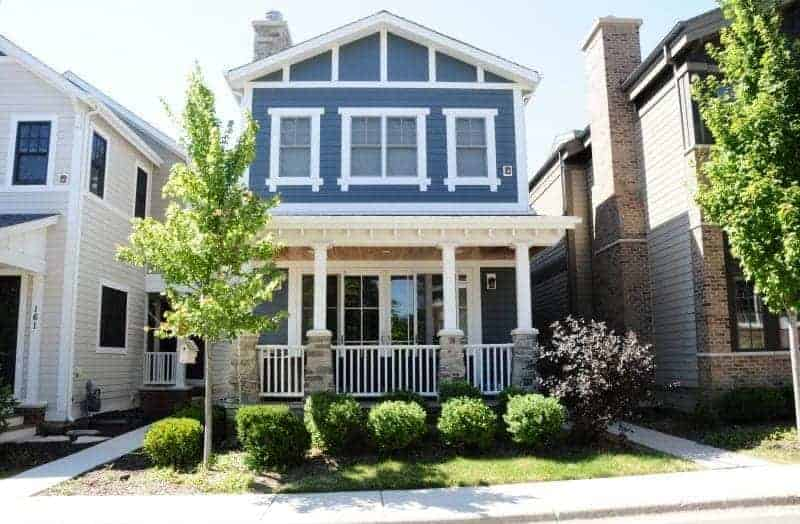Photo of blue home with white trim and front porch.