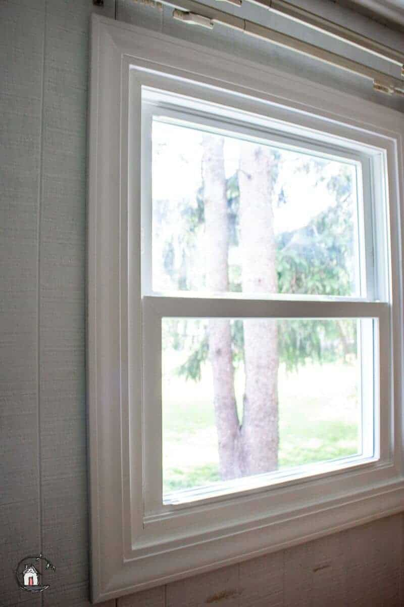 Photo of interior of white vinyl replacement windows.
