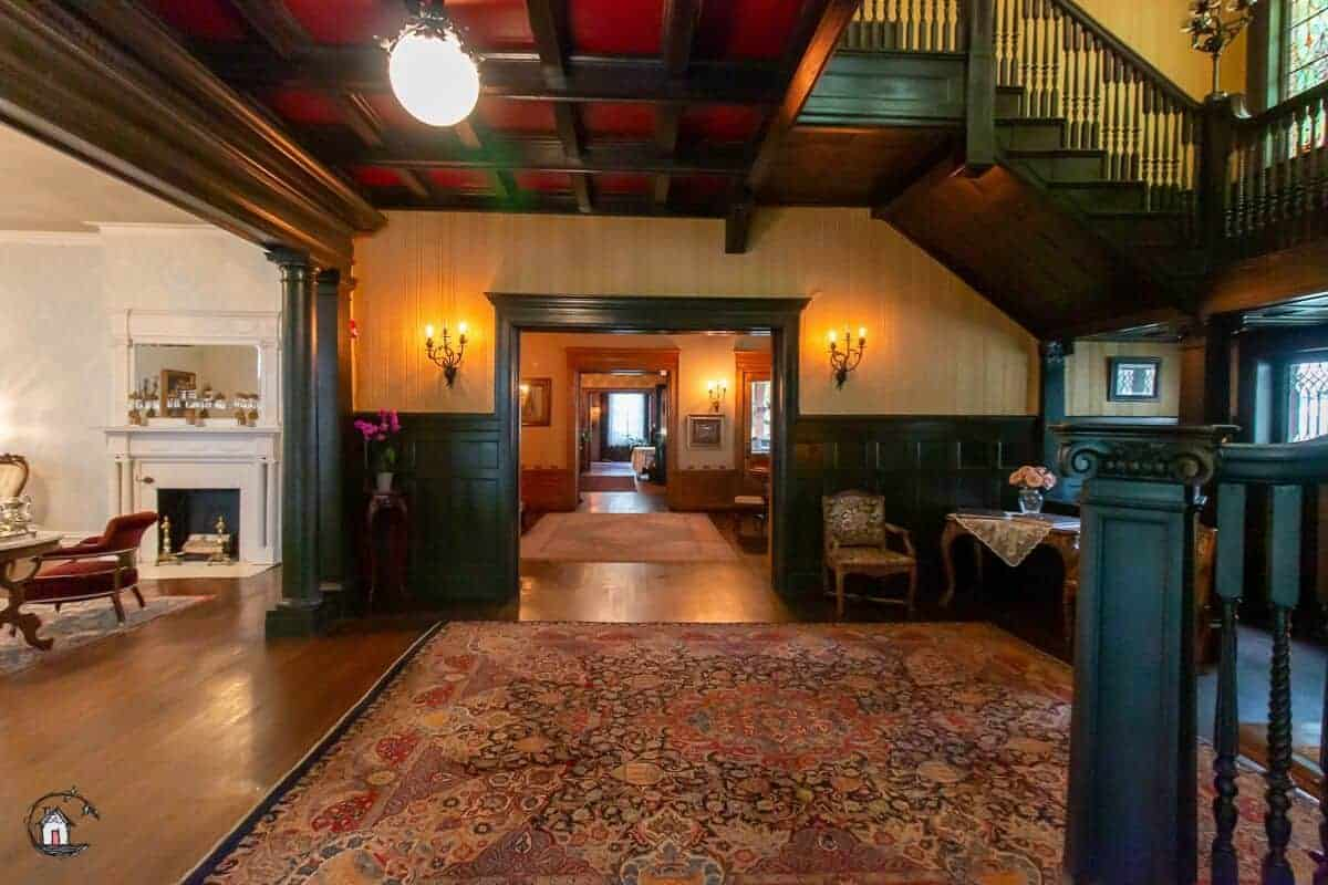 Photo of the foyer of the historic Vrooman Mansion looking towards the Music Room.