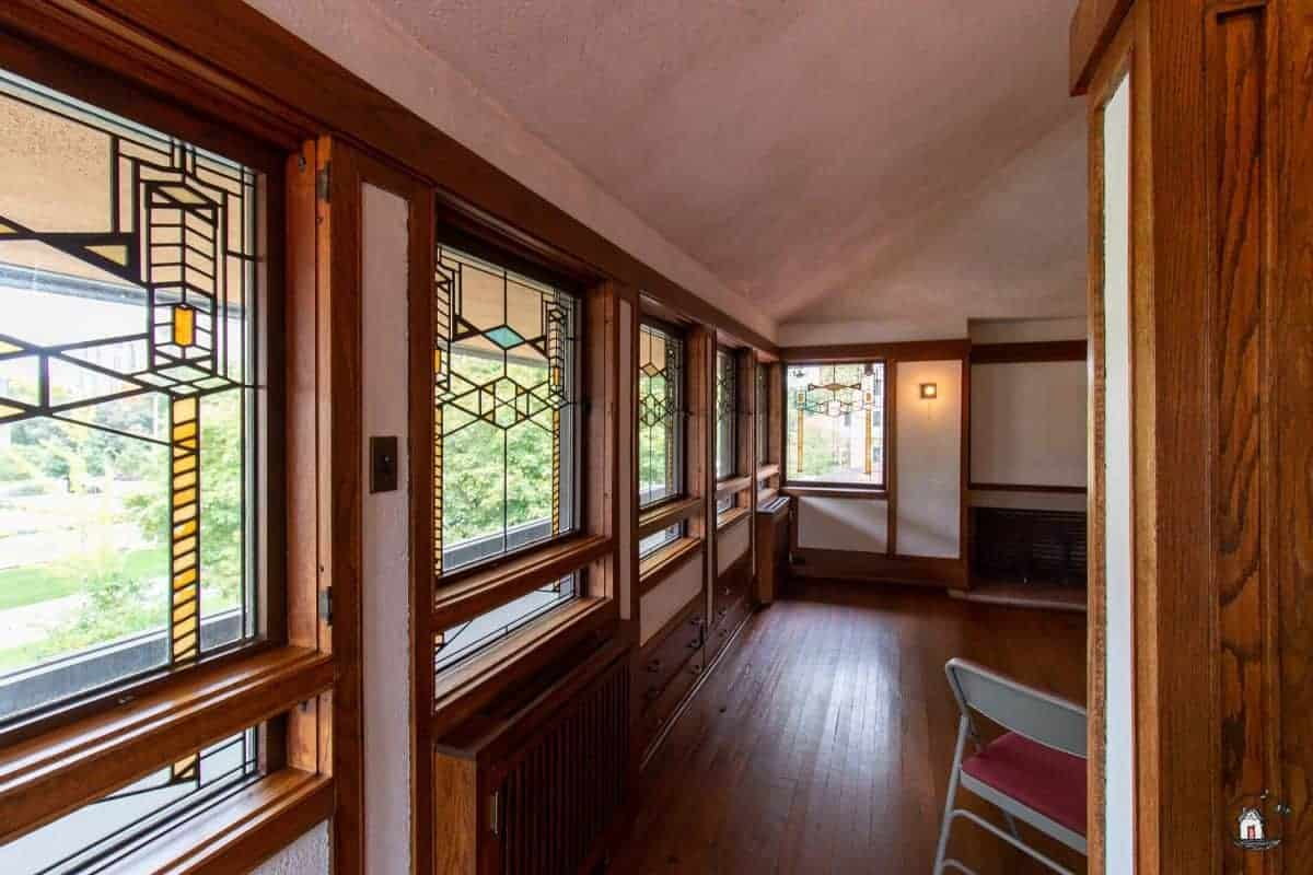 Photo of the interior of the Robie House. New houses can learn many design lessons from older homes.