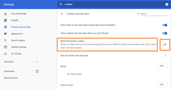 Chrome: Block third-party cookies