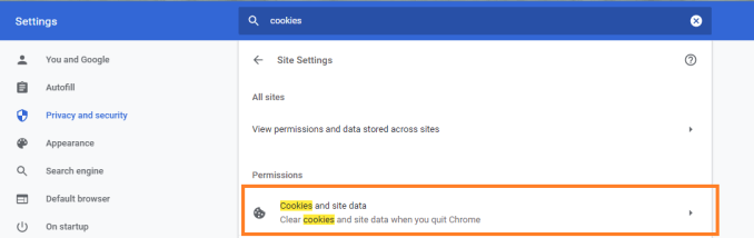 Chrome: Cookies and Site Data
